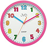 JVD HA46.2 Wanduhr für Kinder Mädchen Kinderwanduhr rosa pink leise ohne Ticken