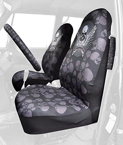 Car-Seat-Covers-universale-Skull-Nero-bianco-Coprisedile-in-poliestere-resistente-protezione-morbida-e-confortevole-coprisedili-Coprivolante-colore-nero
