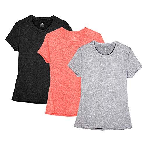icyZone® Damen Sport T-Shirt Running Fitness Shirts Sportbekleidung Kurzarm Oberteile Shortsleeve Top M Black/Granite/Orange