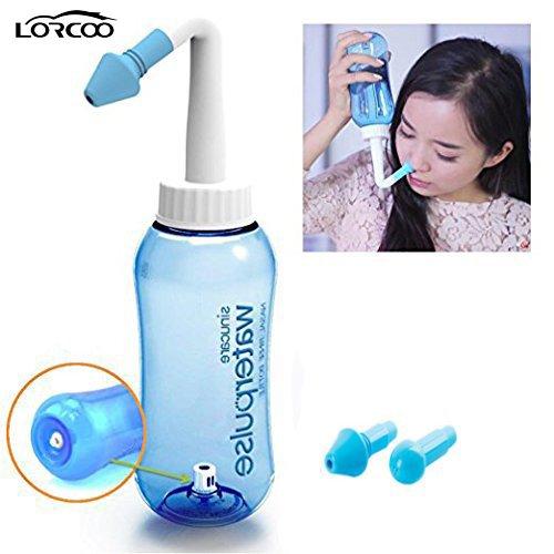 Lorcoo 300 ml Nase reinigen Flasche Nasendusche für Kinder Erwachsene (Blau)