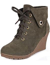 TAOFFEN Damen Classical Keilabsatz Booties High Heel Ankle Boots