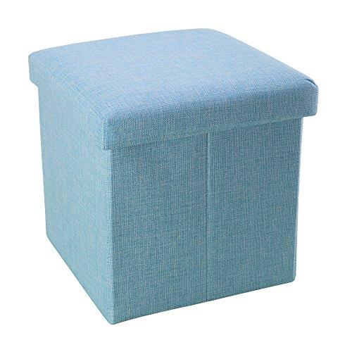 (Intirilife – 30 x 30 x 30 cm Sitzhocker Aufbewahrungs-Box aus Stoff in Leinen-Optik und Dekopappe Faltbox Ordnungsbox Kiste mit Deckel in Himmel-BLAU)