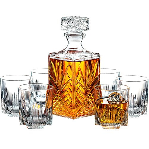 Paksh Novelty, 7-teiliger, italienischer, handgefertigter Dekanter & Whisky-Gläser-Set aus Glas, eleganter Whiskey-Dekanter mit kunstvollem Stopper und 6 exquisiten Cocktail-Gläsern Glas Cocktail Decanter