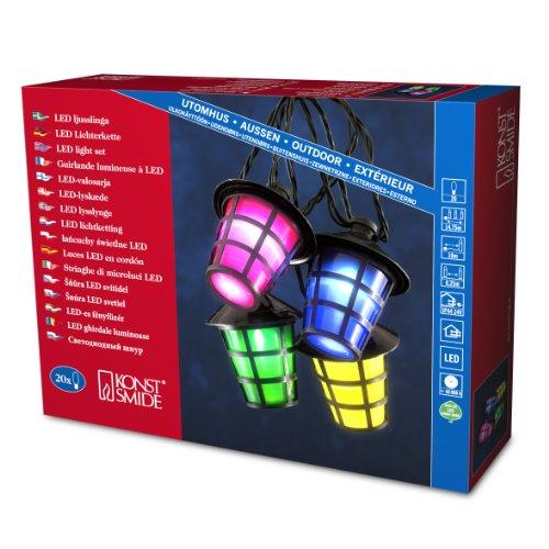 Konstsmide 4162-500 Guirlande de Lampions 20 Lampes Multicolores + 20 LED Blanc + Câble Noir 24 V
