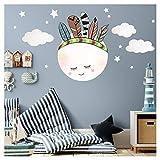 Wandaro Little Deco DL273 Sticker Mural Autocollant pour Chambre d'enfant Motif Lune Indien et Wolken II