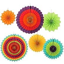Ohuhu Ventilador de Flores de Papel, Fiesta Aficionados Papel de Colores para la Decoración de la Fiesta de Cumpleaños o de la Boda y Familia Eventosm , Conjunto de 6