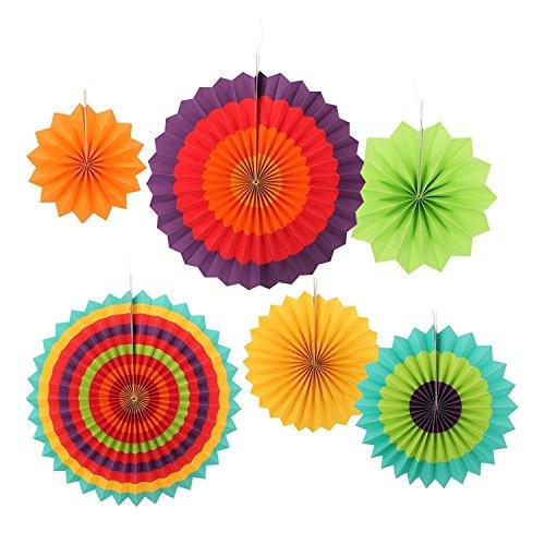 Galleria fotografica Ohuhu Fiesta Ventagli Colorati Di Carta Come Decorazione Per Feste, Compleanni, Eventi, Matrimoni E Per La Casa, Set Da 6 Pezzi