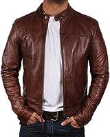 Mens Brown Leather Biker jacket Brand New With Tag Leather Bomber Jacket Coat Designer style Jacket