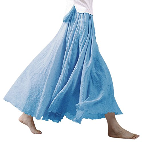 Nlife Frauen böhmische Baumwolle Leinen Double Layer elastische Taille langen Langer RockMaxi Rock- Gr. 95CM, Sky Blue (Blue Elastic Rock)