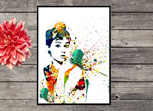Audrey Hepburn Water colour Painting Print Poster, watercolor art,Celebrity Portraits, water color illustration art (No Frame)  available at amazon for Rs.199