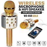 Mobias Retails, Premium WS-858 Wireless Bluetooth Mike (Microphones) for Karaoke Singing, Best Sound