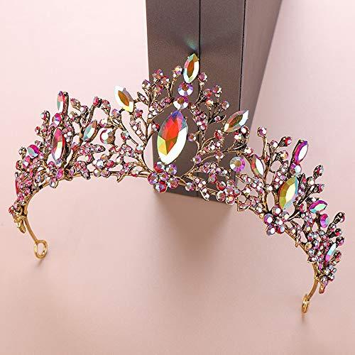 zeit Tiara Rose Gold Braut Krone Jeweled Kopfschmuck für Frauen und Mädchen (Color : Colorful Diamond, Size : Free Size) ()