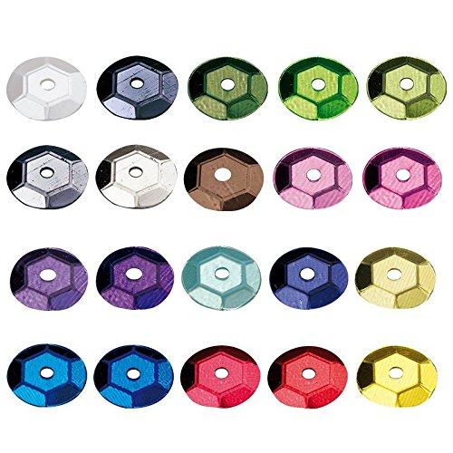 Pailletten-Set, Ø 5mm, metallic, 20 verschiedene Farben, jeweils im 15g Beutel, insgesamt über 38000 Metallic-Pailletten | Pailletten zum aufnähen, aufkleben, auffädeln | Karneval, Heimwerken, Handwerk, Nähen, DIY, Schmuck basteln