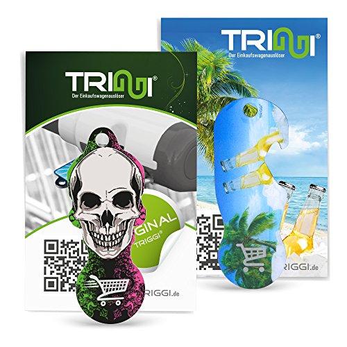 TRIGGI® der Einkaufswagenlöser - Einkaufswagenchip zum Abziehen, 2er Set: Beach-Motiv mit Flaschenöffner-Funktion und Totenkopf-Motiv