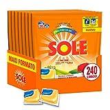 Sole Caps 3 in 1 Colori Protetti, Detersivo Lavatrice in Capsule Monodose, Triplice Azione, Megapack 240 Lavaggi