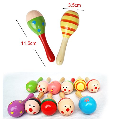 Image of Cute Baby Kids Sound Music Gift Toddler Rattle Musical Wooden Colorful Toys (2pcs)
