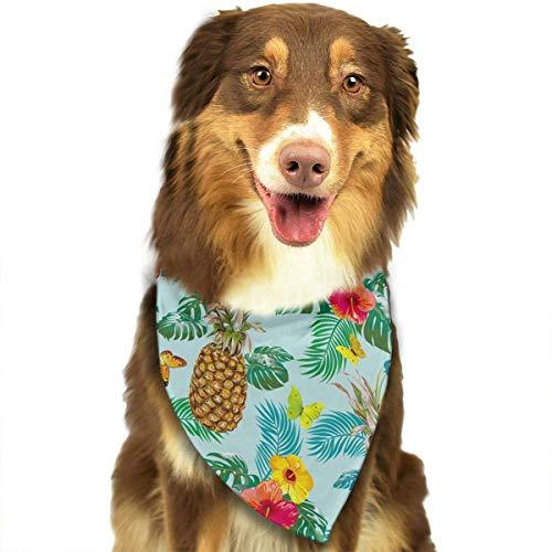 Hectwya Pet Bandanas Tropical Pattern mit Ananas und Blumen verstellbare Halsbänder Pet Bandana Lätzchen für Welpen Katzen -