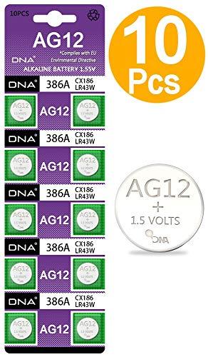 DNA AG12 LR43 Batterien, 10 Stück, Mehrfarbig