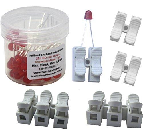 Preisvergleich Produktbild 25 LEDs rot mit eingebautem Widerstand + 5 Press-Lüsterklemmen (2- und 3-fach) - einfache Handhabung
