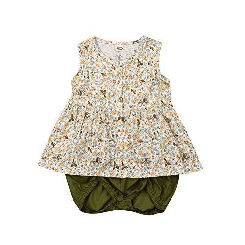 CIPOGL Säugling Baby Mädchen Ärmellos Blumen Tunika Top Kleid+ Shorts Bloomers Sommer Babykleidung Outfits 0-3T (0-6 M, Blumen + Grün)