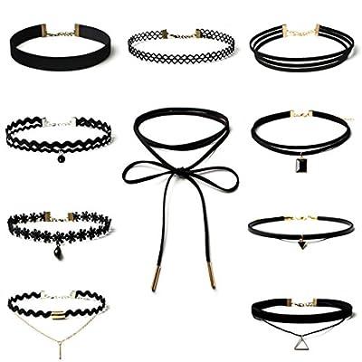 Aienid Damen 10 Stück Choker Halskette-Sets Lesbie Velvet Band Strippe Kropfband Punk Gothic, Schwarz