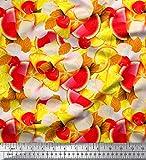 Soimoi Rot Baumwoll-Popeline Stoff Zitronenscheibe, Kirsche