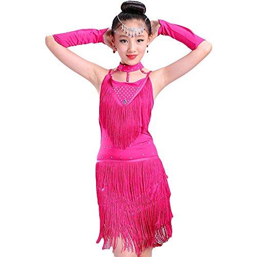 Kinder Mädchen Latein Tanzkleid - Moderne Latin Tänze Walzer Tango Salsa Swingtanz Praxis Training Party Wettbewerb Kostüm Tanzrock Trikot Bekleidung Accessoires Quasten Pailletten (Rosa, 140cm) (Paso Doble Tanz Kostüm)