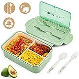 YIKEF Bento Lunch Box - per Adulti Bambini 1400ml Contenitore per Il Pranzo Pranzo con 3 Scomparti e Posate (1 Forchetta e 1 Cucchiaio), può Essere Usato per Microonde e Frigo Lavastoviglie