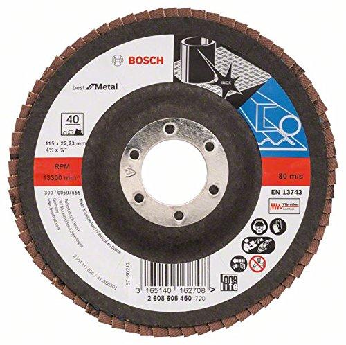 Bosch ProfessionalFächerschleifscheibe (für Winkelschleifer verschiedene Materialien, Ø 115 mm, Körnung 40) - 115 Ge Lampen