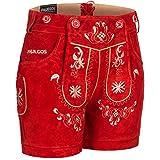 PAULGOS Damen Trachten Lederhose + Träger, Echtes Leder, Kurz in 8 Farben Gr. 34-50 M3, Farbe:Rot, Damen Größe:46