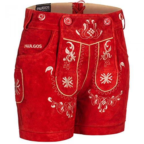 PAULGOS Damen Trachten Lederhose + Träger, Echtes Leder, Kurz in 8 Farben Gr. 34-50 M3, Farbe:Rot, Damen Größe:42