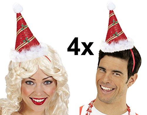 4 Stück Weihnachtsmütze Weihnachtshut auf Haarreifen Weihnachten Weihnachtsfeier (Teufel Kostüme Herren)