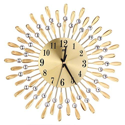 Preisvergleich Produktbild Metall Wanduhr 3D Diamanten Blume Nicht-Ticking Stille Blendung Uhr LuckyGirls (Gold)