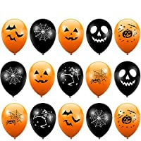 100 Latex Halloween Party Balloons - Orange & Black - Perfect Decoration for Parties - High Quality
