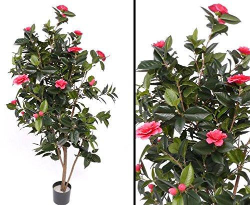 Kamelien- Camellia Japonica Baum, mit 786 Blätter, 20 hell roten Blüten, Höhe ca.155cm - Kunstbäume Kunstbaum künstliche Bäume Kunstpflanzen Kunstpalmen Dekopalmen