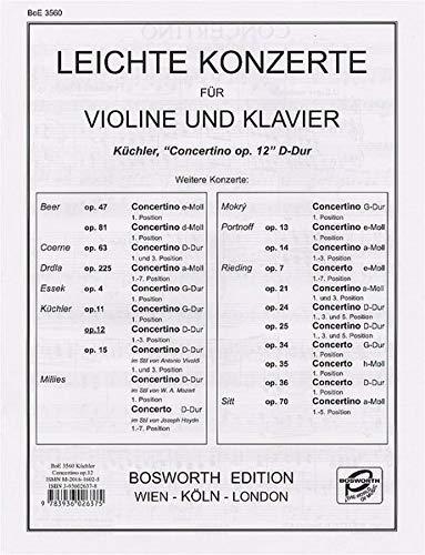 Concertino en Ré Maj. Op.12 - Vl/Po