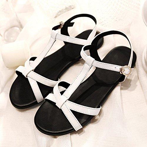 COOLCEPT Damen Mode T-Spangen Sandalen Open Toe Slingback Flach Schuhe White