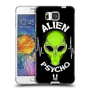 Head Case Designs Noir Psychopathe Alien Emoji Étui Coque en Gel molle pour Samsung Galaxy Alpha