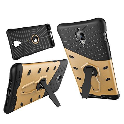 Qiaogle Telefon Case - Shockproof TPU + PC Hybrid Ständer Schutzhülle Case für Apple iPhone 7 (4.7 Zoll) - CD03 / Schwarz & Rote CD02 / Schwarz & Golden