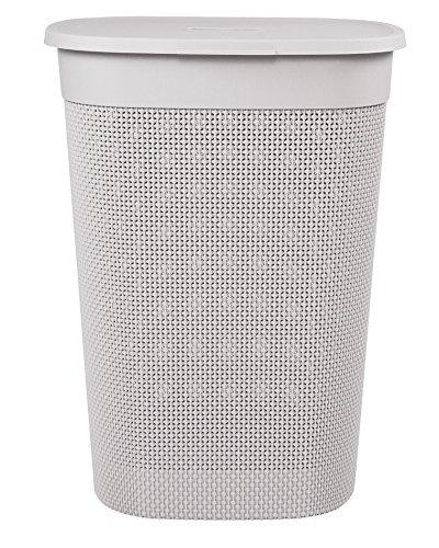 Ondis24 Wäschebox Wäschekorb Filo 60 Liter (grau-rosé), gut belüftet, neues italienisches Design, sehr Gute Verarbeitung und Optik Grau Rose
