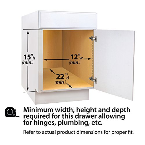 Lynk Professional Roll Out Under Sink Cabinet Organizer - Pull Out Two Tier Sliding Shelf - 11.5 inch wide x 21 inch deep - Chrome