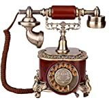 Schnurgebundene Festnetztelefone,tztelefone Kreative altmodische Wählscheibe Telefon, Antike europäische Pastoral Retro Telefon, Home Festnetz, Office Fixed(Rot3)