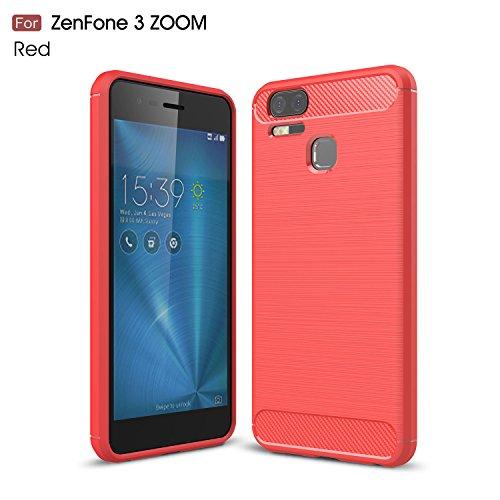 Funda Asus Zenfone 3 Zoom ZE553KL,Regalo:Cristal Vidrio Templado Premium Para Asus Zenfone 3 Zoom ZE553KL,[9H Dureza] [Alta Definicion 0.3mm] [2.5D Round Edge],JMGoodstore Rojo Silicona Fundas para Asus Zenfone 3 Zoom ZE553KL Carcasa Fibra de Carbono Funda Case skin Caso