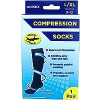 Adult's Unisex Black Compression Flight & Travel Socks (UK Shoe Size 5-8.5)