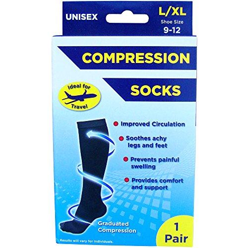 Adult's Unisex Black Compression Flight & Travel Socks