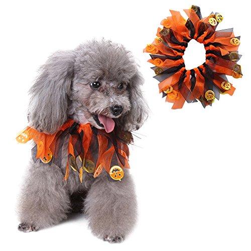 Yunt Hundetücher Hunde Hals Schmuck Halsbänder Halloween Kostüm Kürbis-Farbe-Muster aus Polyester Elastisch & Verstellbar Pet Collar S/M/L