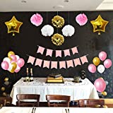 33 Piece Gold, White & Pink Party Supplies Decoration Set by Belle Vous - Pom Poms, Latex & Foil Balloons & Banners for Birthday Celebrations & Parties - Bulk Decorations Kit for Girls, Boys & Adults