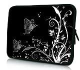 Luxburg® Design Tasche Hülle Sleeve Schutzhülle für Tablet PC 8 Zoll: Apple iPad mini (auch Retina) | Samsung Galaxy Tab 3 (8 Zoll) / Note 8.0 | Intenso TAB814 (8 Zoll) | Asus MeMO Pad 8 | Odys Titan (8 Zoll) | Lenovo IdeaPad Yoga (8 Zoll) | Acer Iconia W3 (8 Zoll) , Motiv: Pflanzenornament mit Schmetterlingen schwarz/weiß