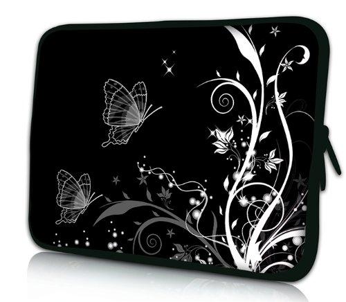 Luxburg® Design Laptoptasche Notebooktasche Sleeve für 17,3 Zoll (auch in 10,2 Zoll | 12,1 Zoll | 13,3 Zoll | 14,2 Zoll | 15,6 Zoll | 17,3 Zoll) , Motiv: Pflanzenornament mit Schmetterlingen schwarz/weiß