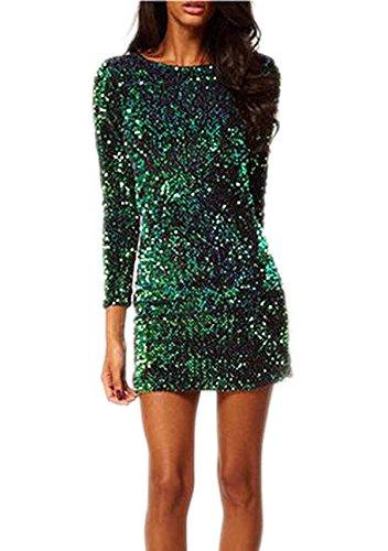 YaoDgFa Damen Paillettenkleid Minikleid Cocktailkleid Abendkleid Partykleider Etui Kleid mit Pailletten Langarm Rückenfrei Kurz Grün